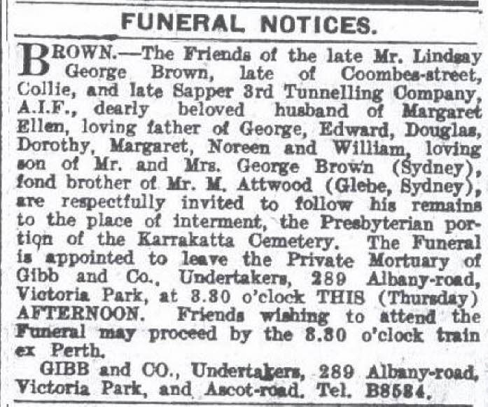 Summary -> Nsw Archive 1 Australian Death And Funeral Notices Today